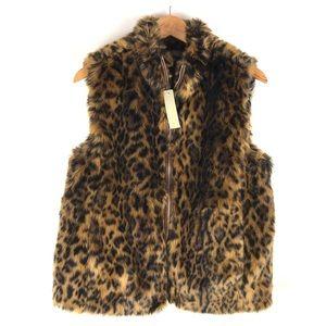 NWT J.Crew Leo Faux Fur Vest Size M